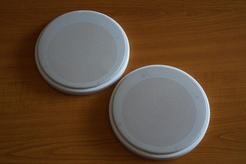 PG Audio 1 Paar DIN-100 Lautsprecher-Universalabdeckung Abdeckung Grill 10 cm Weiß