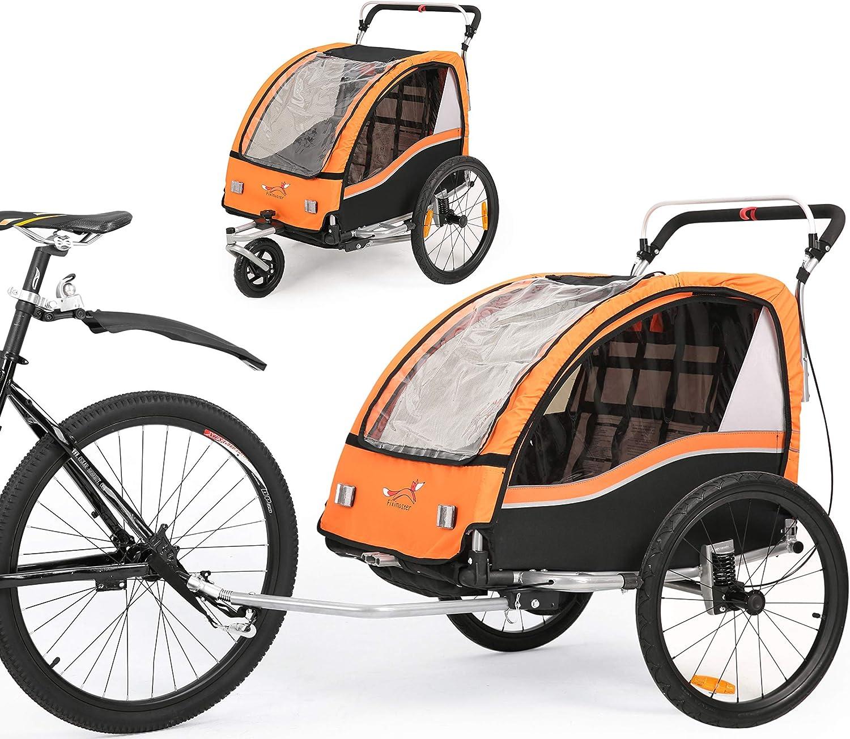 Fiximaster 2020 V2 - Remolque para bicicleta 2 en 1 (giratorio 360°, con manillar y suspensión), color naranja BT503