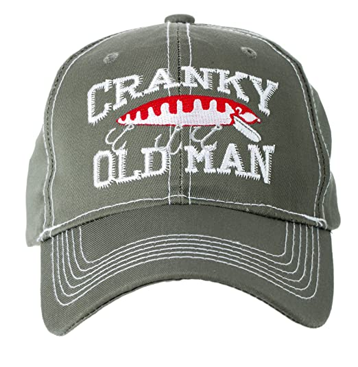 Amazon.com  Artisan Owl Cranky Old Man Fishing Lure Baseball Cap Hat ... 5158d18bbd2