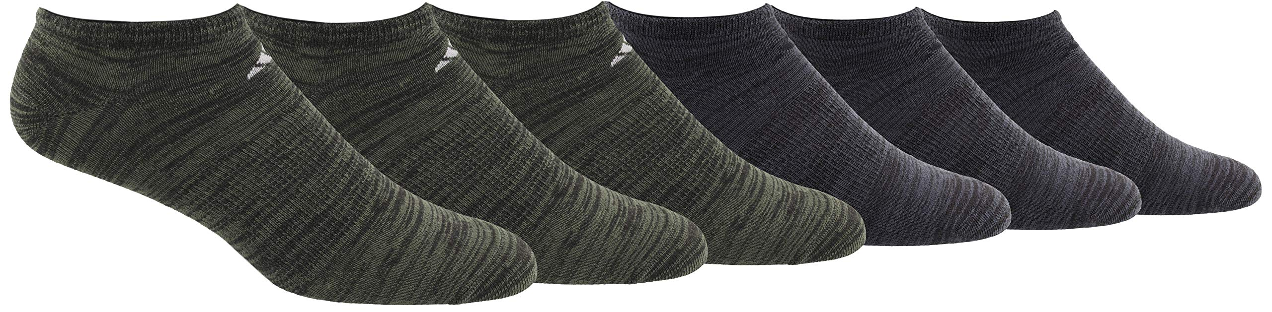 adidas Men's Superlite Low Cut Socks with arch compression (6-Pair),Base Green  -  Black Space Dye/ Light Onix Black - Nigh,Large, (Shoe Size 6-12) by adidas