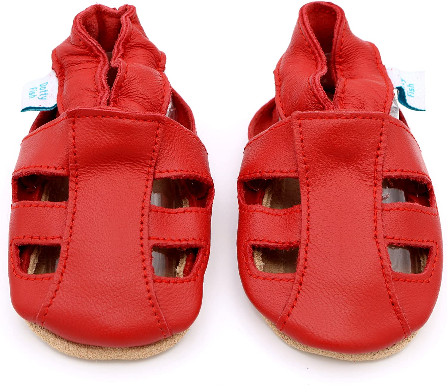 Dotty Fish Soft Leather Baby Shoes with Suede Soles Toddler Sandals Non-Slip 0-6 Months to 3-4 Years