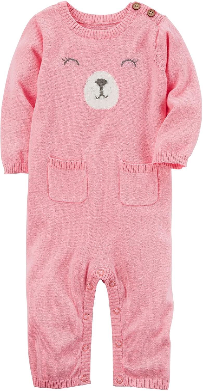 Carters Baby Girls Bear Sweater Jumpsuit