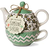 Pavilion Gift Company 74072 Bloom Someone Special Ceramic Tea for One, 15 oz, Multicolor