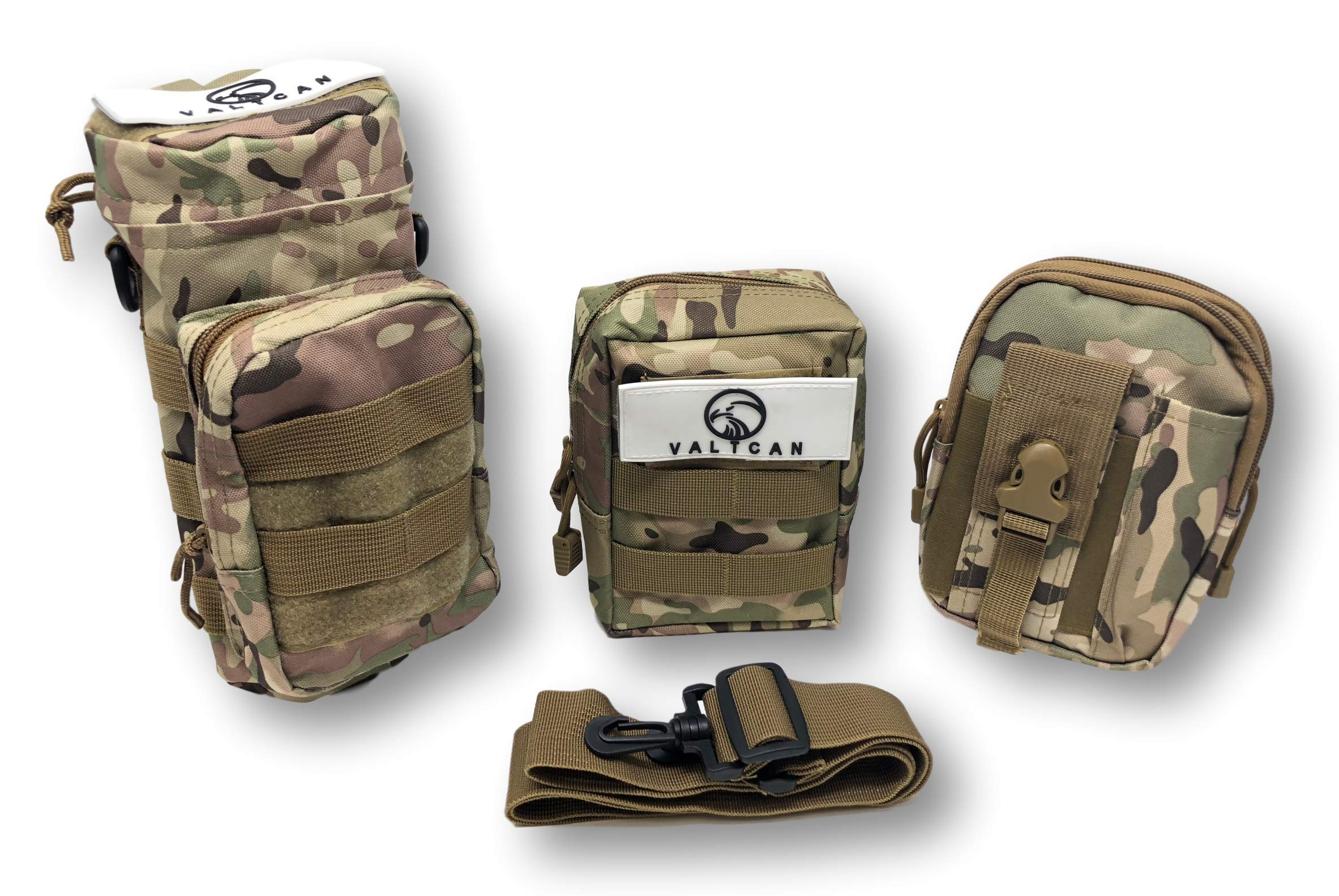 Valtcan Tactical Molle Bags Water Bottle, Mobile Phone, and Camping Hiking Pouches 3 Pack Set