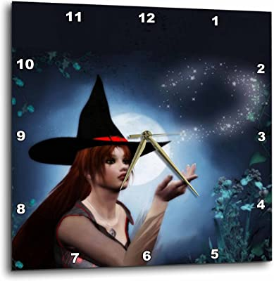 3dRose dpp_28904_1 Magic Witch with Full Moon-Wall Clock, 10 by 10-Inch