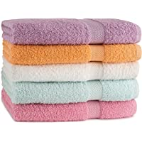 TowelFirst 5-Pack Extra-Absorbent Bath Towel Set - Large, 27x54 Inches, 100 Percent Cotton Bath Towels - Soft and Quick Drying - Best for Bath, Pool and Guest Use, Get 2 12x12 Inches Washcloths