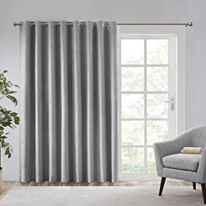 SUN SMART Maya Blackout Curtains Patio Window, Textured Heatherd Print, Grommet Top Living Room Decor Thermal Insulated Light Blocking Drape for Bedroom and Apartments, 100x84, Grey