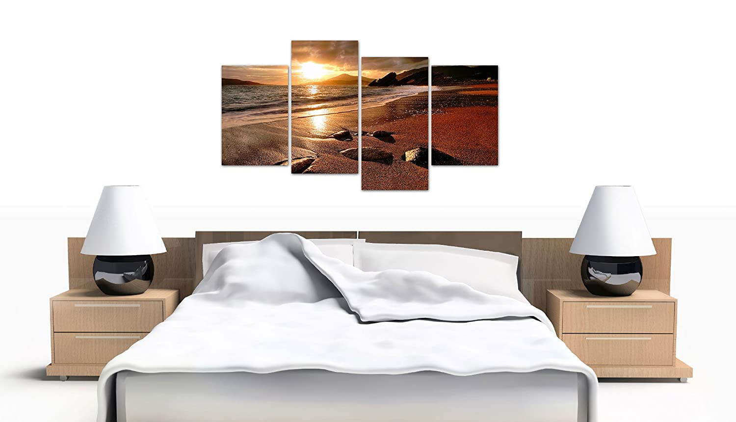 Amazon.com: Large Golden Brown Sunset Beach Canvas Wall Art Pictures ...