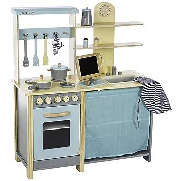 ultrakidz cocina de juguete de madera natural gran unidad de cocina con accesorios