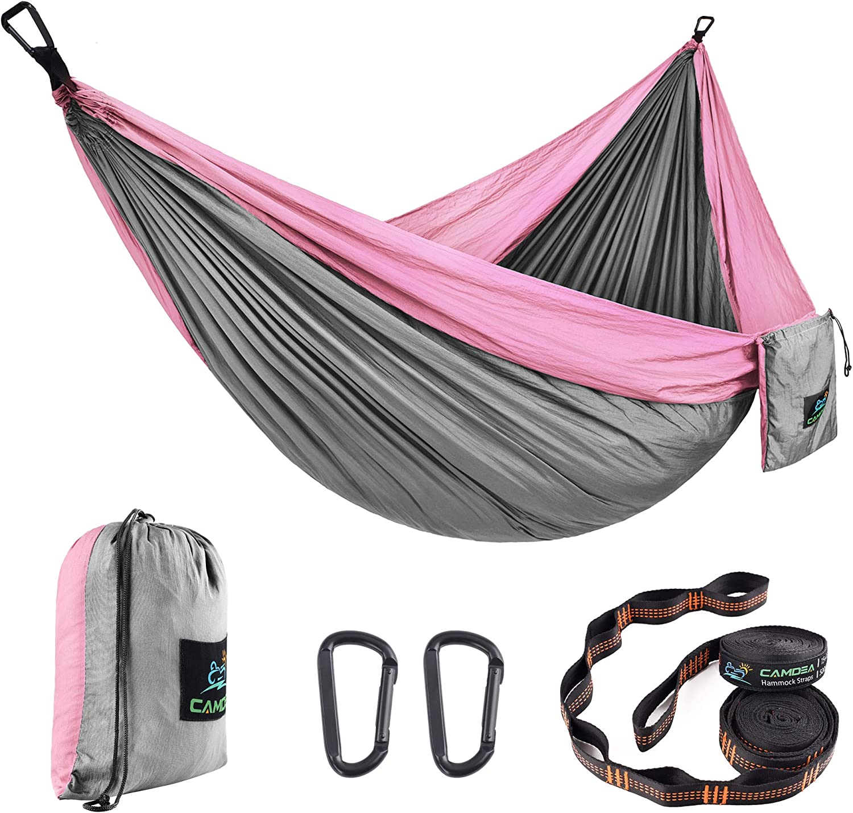 Lightweight Portable Hammocks for Hiking Double Hammock Yard Gear Includes Nylon Ropes /& Steel Carabiners Pink//Purple Hammock Camp Brand Backpacking Travel Beach