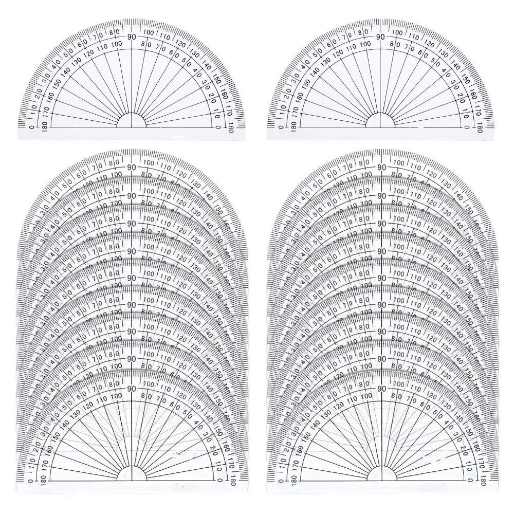 180 Degree Protractor - 20 Pack Plastic Protractor, 180 Degrees Protractor For Angle Measurement Student Math, 4 Inches, Clear - Samoda by Samoda