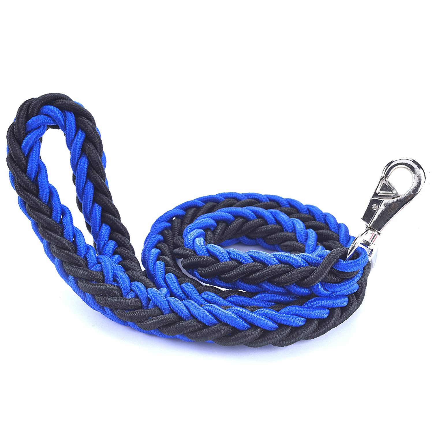 bluee Large bluee Large Cdycam Heavy Duty Braided Pet Dog Training Leash,Dog Walking Leads,4ft Thick Durable Dog Rope Leash for Small Medium Large Dogs (Large, bluee)