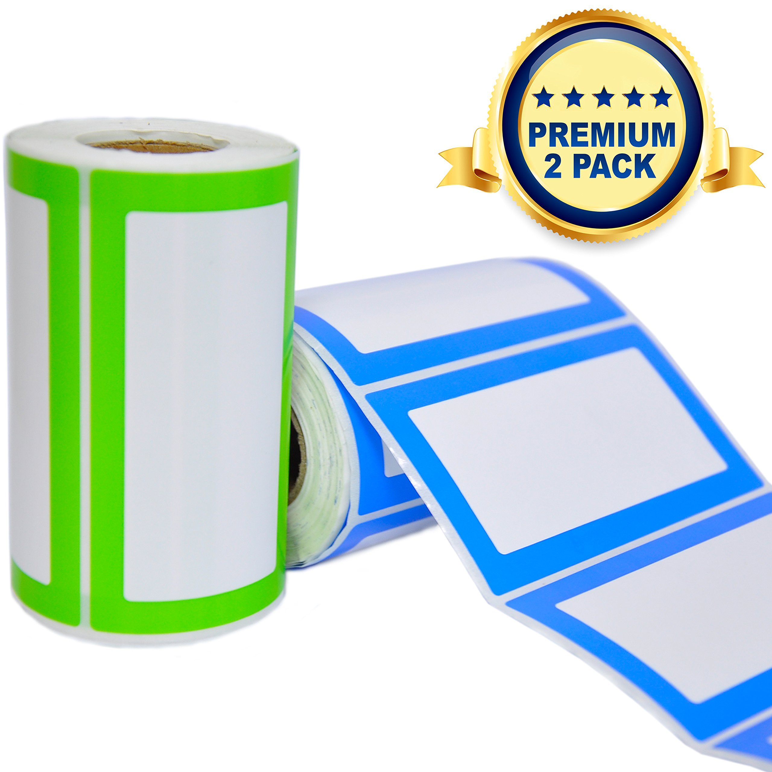 Colorful Plain Name Tag Labels - 2 Rolls 500 Stickers in Total - 3.5 x 2 inches - Nametags for Jars, Bottles, Food Containers, Folders, Birthday Parties and Kids Clothes (Blue/Green 2 Pack)