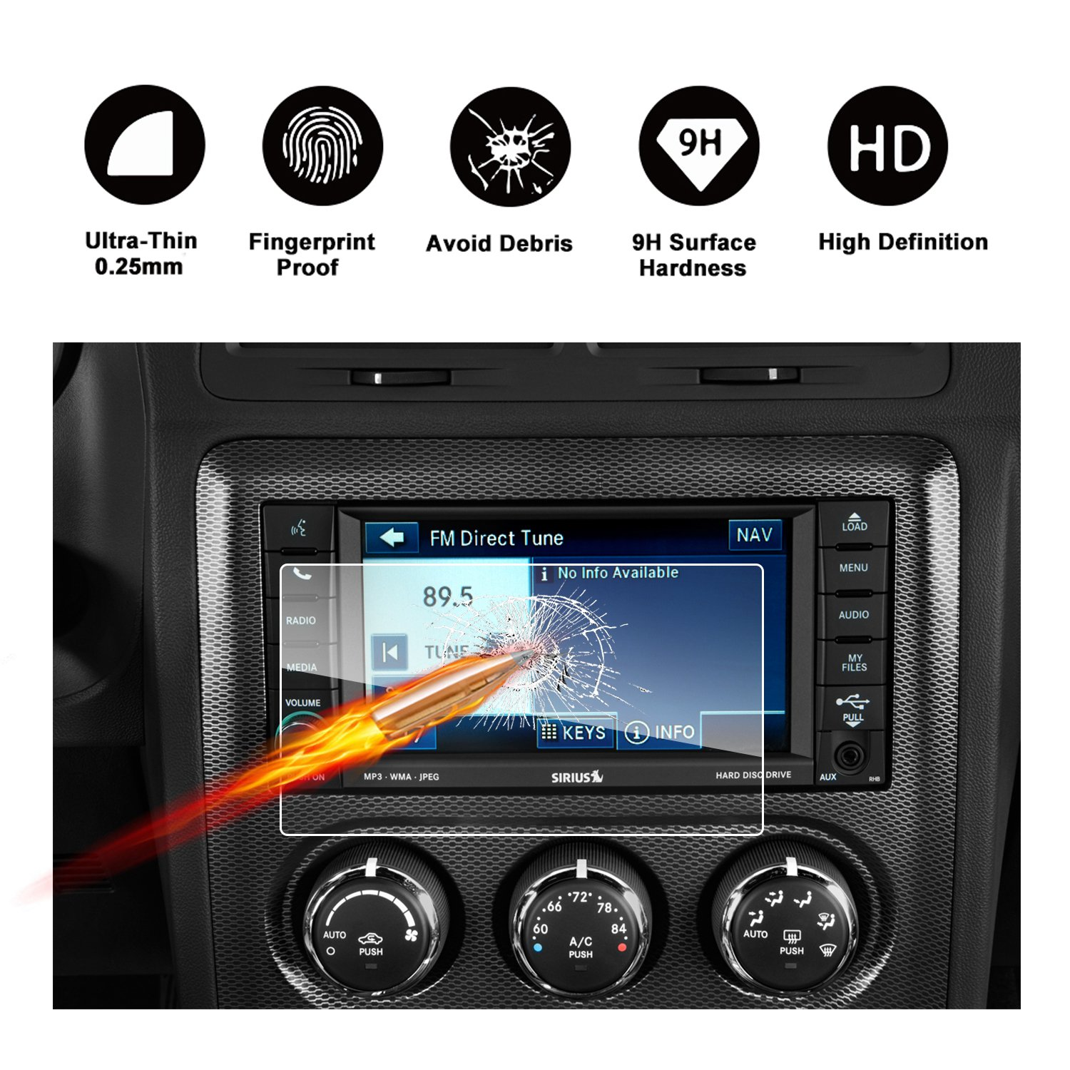RUIYA HD Clear TEMPERED GLASS Car In-Dash Screen Protective Film 4350460822 2015-2018 Dodge Challenger SRT 392 Hellcat Uconnect Touch Screen Car Display Navigation Screen Protector 8.4-Inch