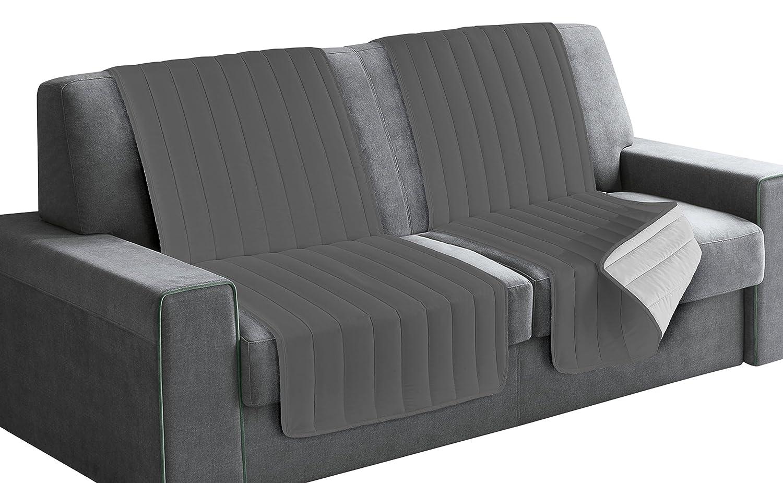 Italian Bed Linen Elegant Protector de Respaldo y Asiento para Sofá, Microfibra, Azul Oscuro y Gris Claro, 40x30x15 cm Datex Trade S.r.l.