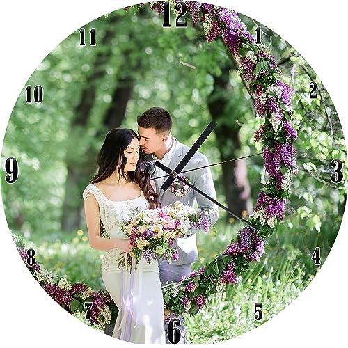 Amazon Com Personalised Wood Wall Clock Custom Wedding Wood Wall