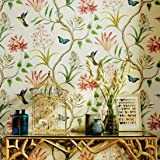 Blooming Wall Vintage Fresh Floral Birds Wallpaper Wallpaper Wall Mural for Livingroom Bedroom Kitchen Bathroom, 20.8…