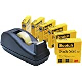 Scotch Double Sided Tape with Deluxe Desktop Tape Dispenser, 1/2 x 900 Inches, 6 Rolls, 1 Dispenser (665-6PKC40)