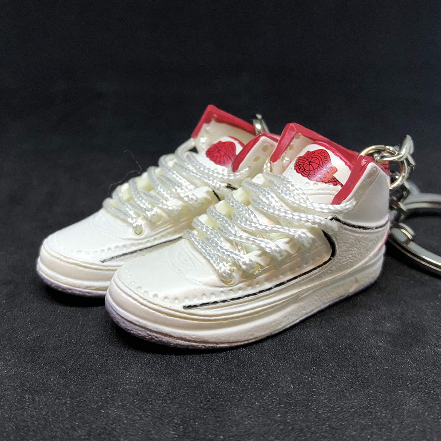 21ae5ff64bd Amazon.com : Pair Air Jordan II 2 Retro White Red OG Sneakers Shoes 3D  Keychain 1:6 Figure : Everything Else