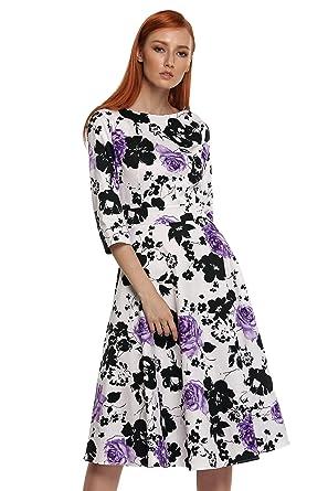767ceccda5f ACEVOG Damen 1950er Retro Vintage Sommerkleid Partykleid Cocktailkleid  Abendkleid Knielang Lang Arm