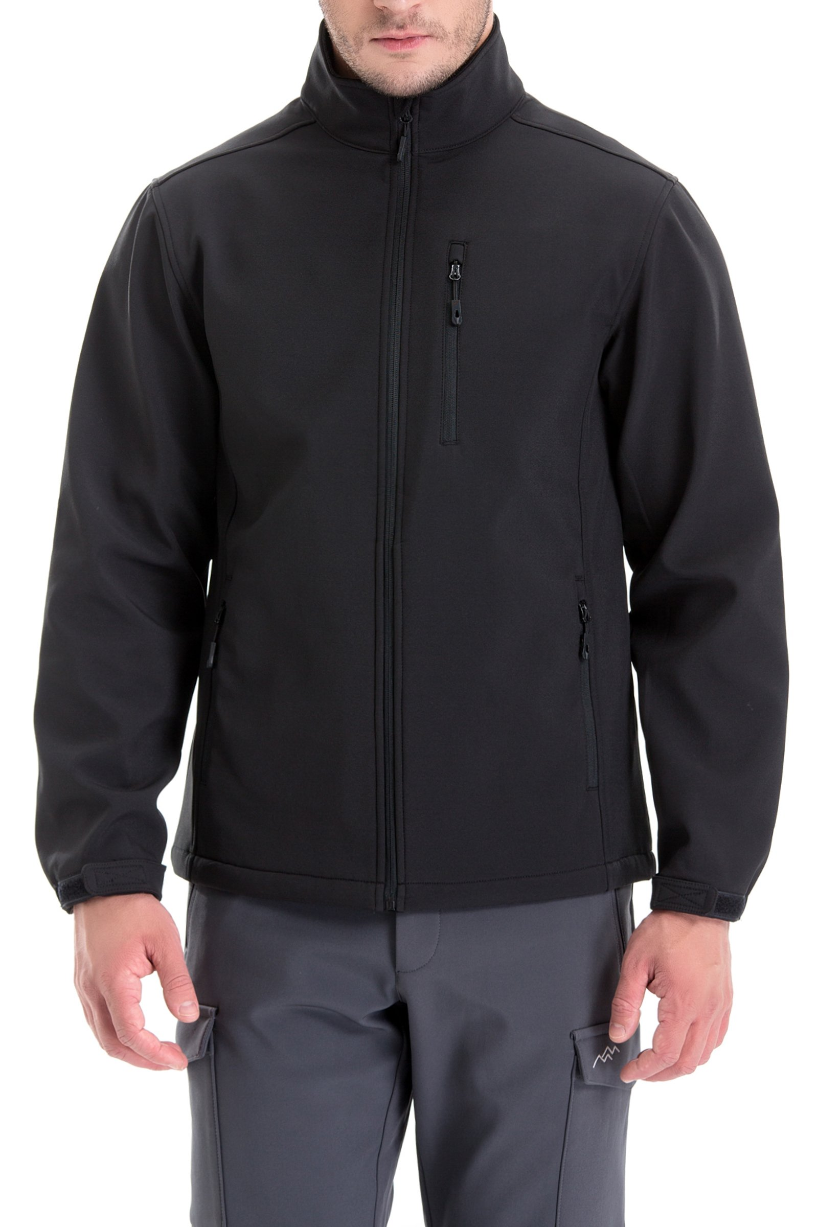 Trailside Supply Co. Men's Windproof Softshell Zip-Front Fleece-Lined Jacket (Black-L) by Trailside Supply Co.