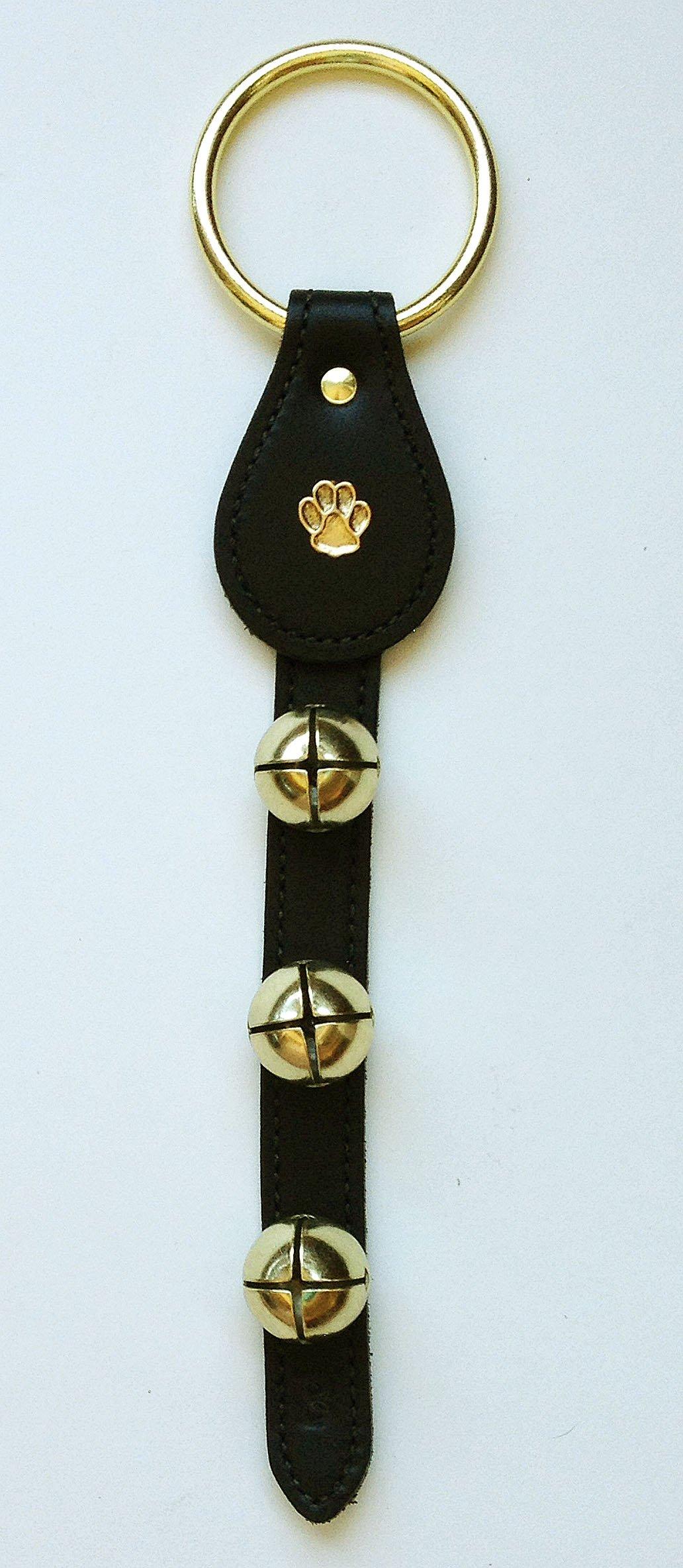 Jingle Bells - Leather Bell Strap w/ Dog Paw Print Charm & Brass Plated Bells - Black - Dog Training Bells - Sleigh Bells