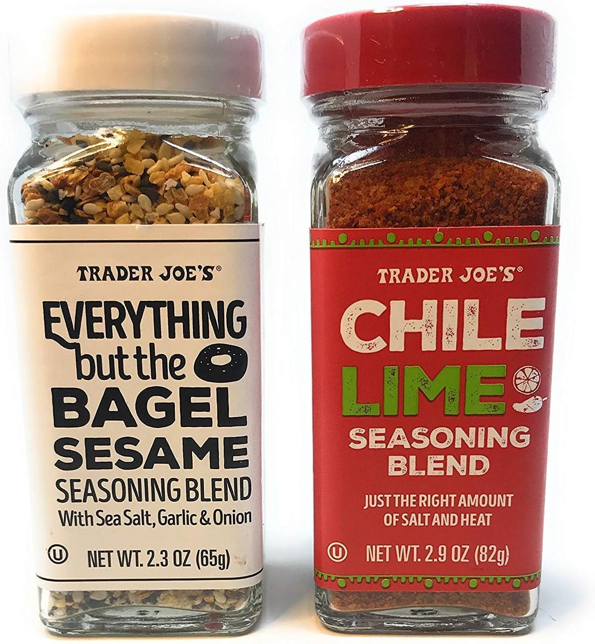 Trader Joe's Seasonings Bundle - Everything But The Bagel Sesame and Chile Lime Seasoning Blends (1 of each)