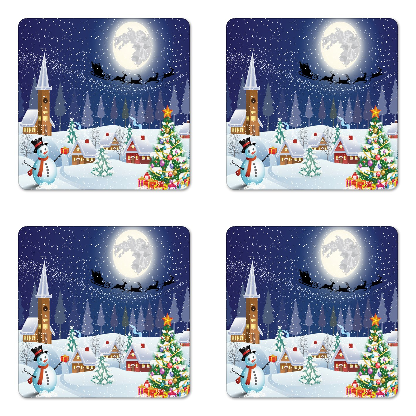 Ambesonne Christmas Coaster Set of Four, Winter