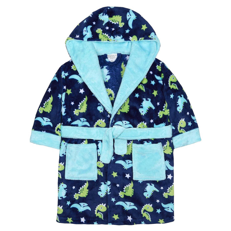 MiniKidz Boys Hooded Fleece Dinosaur Dressing Robe