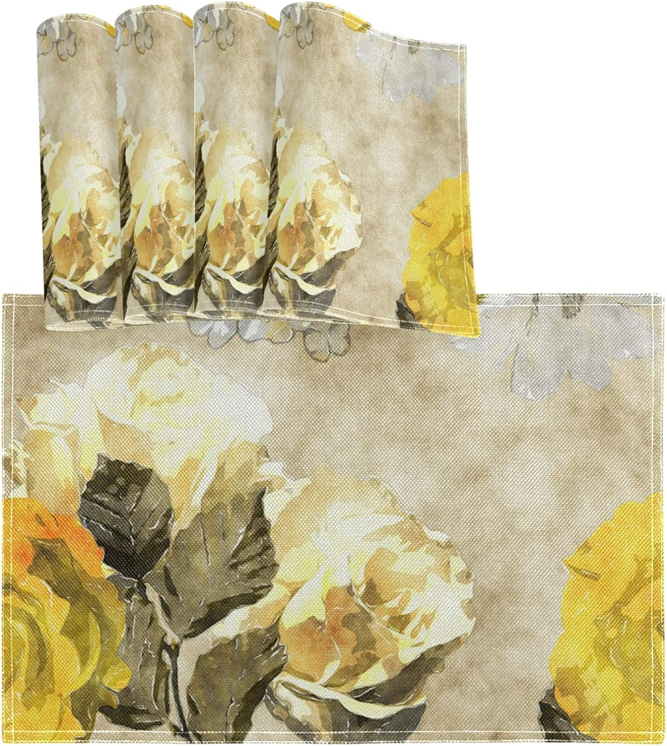 """vvfelixl Watercolor Floral Yellow White Roses Phlox Asters Set of 4 Placemats 18""""X12"""" Table Mats Cloth Kitchen Linen Sets Linen-Like Heat-Resistant Dining Home Decorations Everyday Use"""