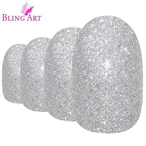 Uñas Postizas Bling Art Plata Gel Ovale 24 Medio Falsas puntas acrílicas con pegamento