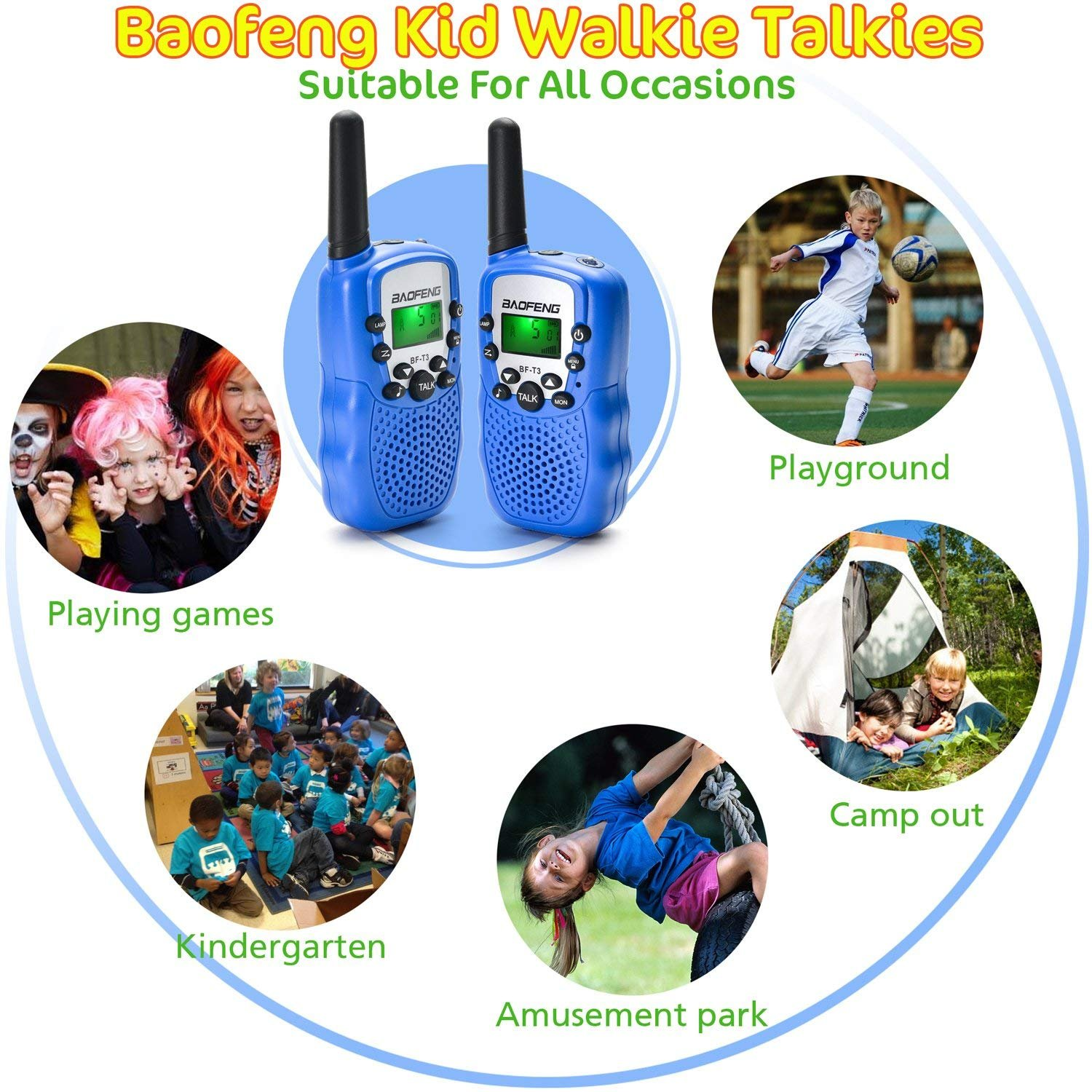 BaoFeng kids walkie talkies rechargeable 2 Way Radio for Kid,Toy | Gift for Child (Blue | Pack of 2)