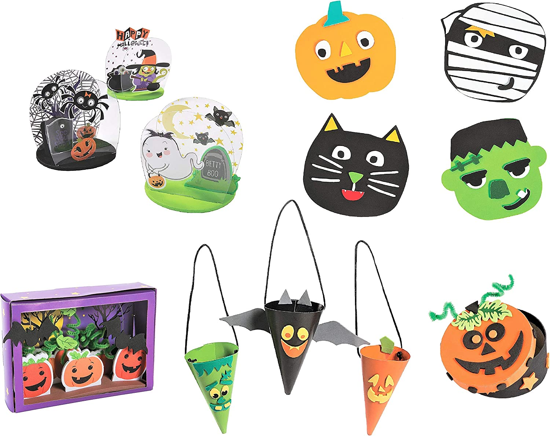 Childrens Activities for Classroom Homeschooling Supplies DIY Decor Twelve Treat Cones /& More! Kits Halloween Craft Kits for Kids Set Ghoul Gang Magnets 12 Pumpkin Box Tabletop Decorations