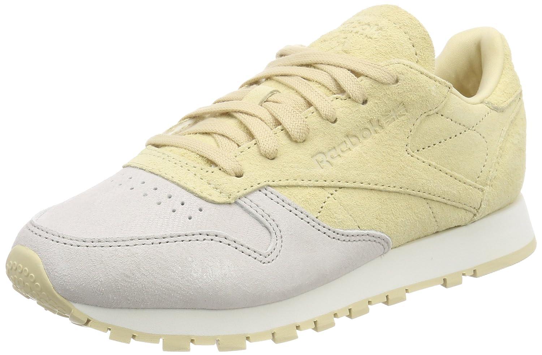 Reebok Damen Classic Leder NBK Sneaker Weiß (Chalk/Straw)