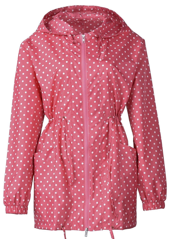 QZUnique Women's Packable Waterproof Rain Jacket Outdoor Raincoat with Zipper Beige OneSize GBD-XZM-R-9028-mise