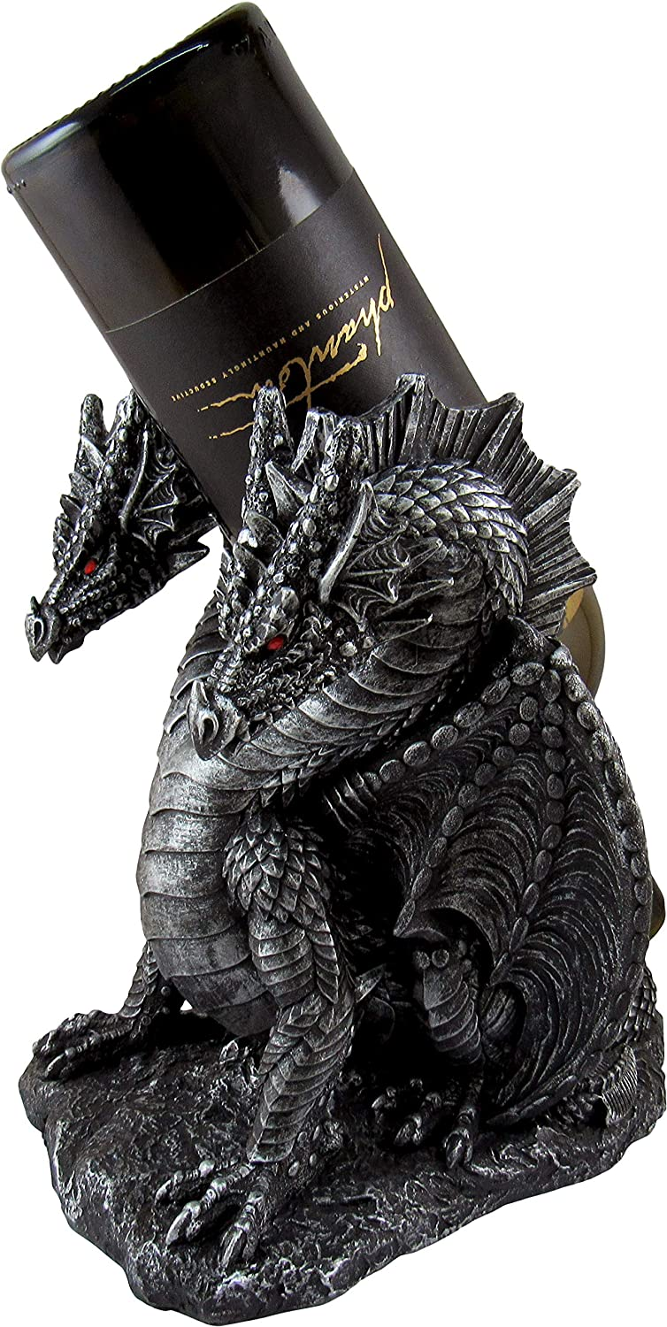 DWK - Hydra's Hydration - Two-Headed Dragon Wine Bottle Holder Caddy Tabletop Beverage Holder Medieval Gothic Fantasy Home Dining Bar Kitchen Decor Accent, Pewter Finish, 9-inch