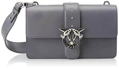 bdc606a3d34 Pinko Love Simply 6 Tracolla Vitello Seta, Women's Shoulder Bag, Grey  (Grigio/