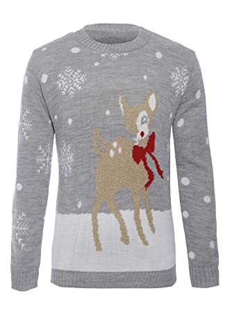 0d76b91bee0ba Missmister Womens Ladies Mens Unisex Knit Xmas Christmas Jumper Novelty  Santa Reindeer Bambi Rudolph Sweater Knitwear Pullover Top Plus Sizes UK  8-30 (M L ...
