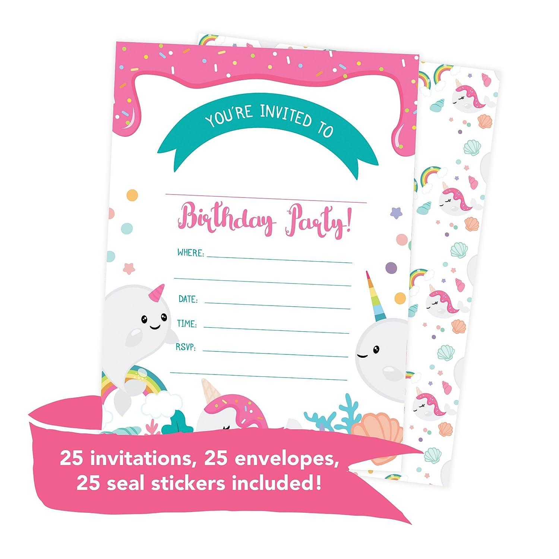 Amazon.com: Narwhals Happy Birthday Invitations Invite Cards (25 ...