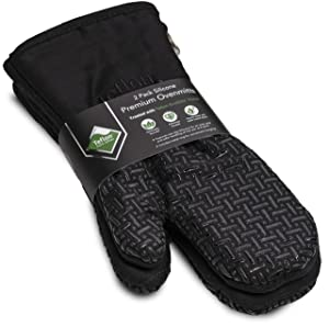 XLNT Black Premium Non Slip Silicone Oven Mitts, Heat Resistant, with Teflon Eco Elite Finish, Hanging Loop, Great for Home Baker Or Commercial Chef Use