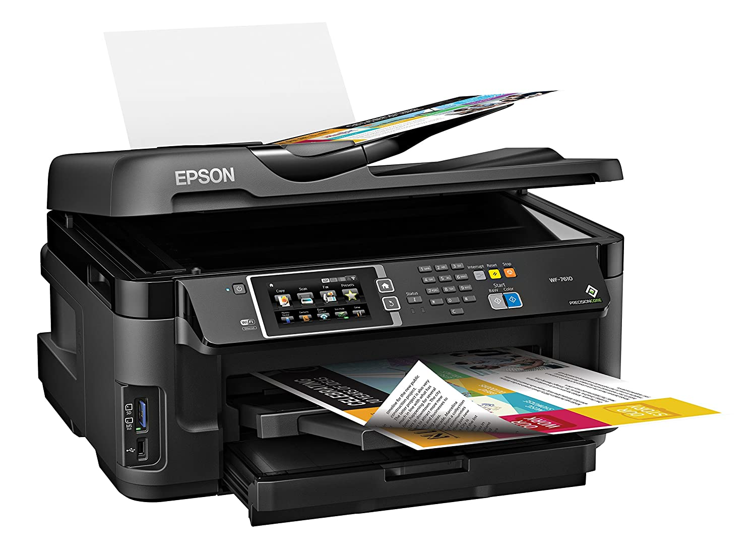 Epson Wireless Color All In One Inkjet Printer Workforce Wf 7610 Tinta Pigment Diamond Ink Best Photo Quality Computers Accessories