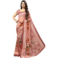 SAMAH Women'S Chiffon Printed Saree With Unstitched Blouse