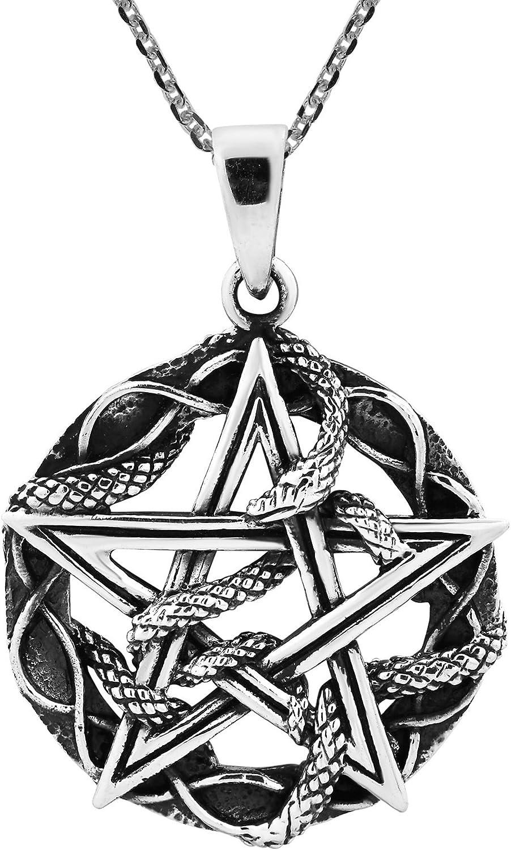 AeraVida Entwined Snake Star Pentagram .925 Sterling Silver Pendant Necklace