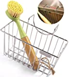 Kitchen Sponge Holder with Dish Brush- Sink Caddy Stainless Steel Soap Organizer Tray, Dishwashing Liquid Drainer Utensil Holder
