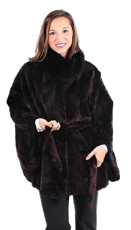 ac3afba3e8b24 Amazon.com  Sheared Mink Fur Cape with Fox Fur Collar and Detachable  Belt(Black