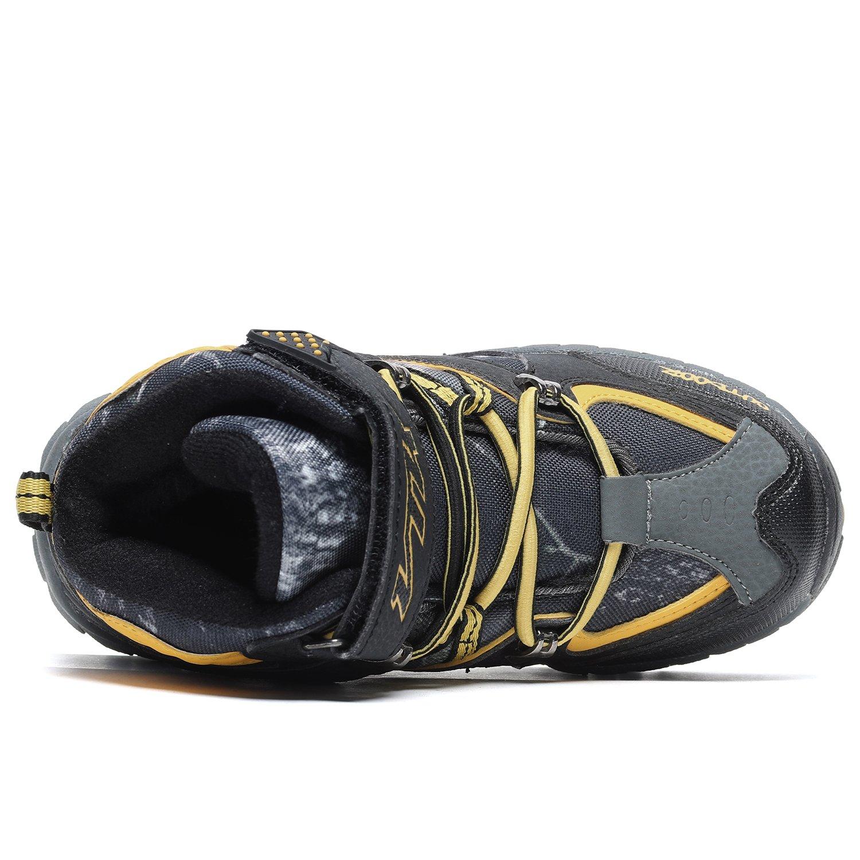Kids Hiking Shoes Trekking Walking Snow Boots Antiskid Steel Buckle Sole Waterproof Winter Outdoor Climbing Cotton Sneaker.HS-8032-Y-37,5 M US Big Kid(Foot Length=23.5cm),Yellow by Littleplum (Image #3)