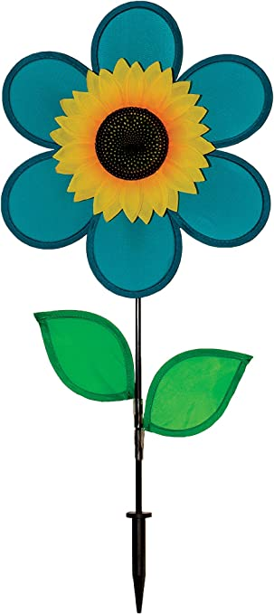 Amazon Com In The Breeze 12 Inch Teal Sunflower Wind Spinner With Leaves Includes Ground Stake Colorful Flower For Your Yard And Garden Garden Outdoor