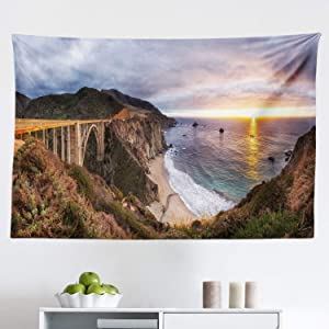 """Ambesonne Big Sur Tapestry, Panoramic Aerial View Picturesque Landscape with Bixby Creek Bridge Sunset Photo, Fabric Wall Hanging Decor for Bedroom Living Room Dorm, 45"""" X 30"""", Multicolor"""