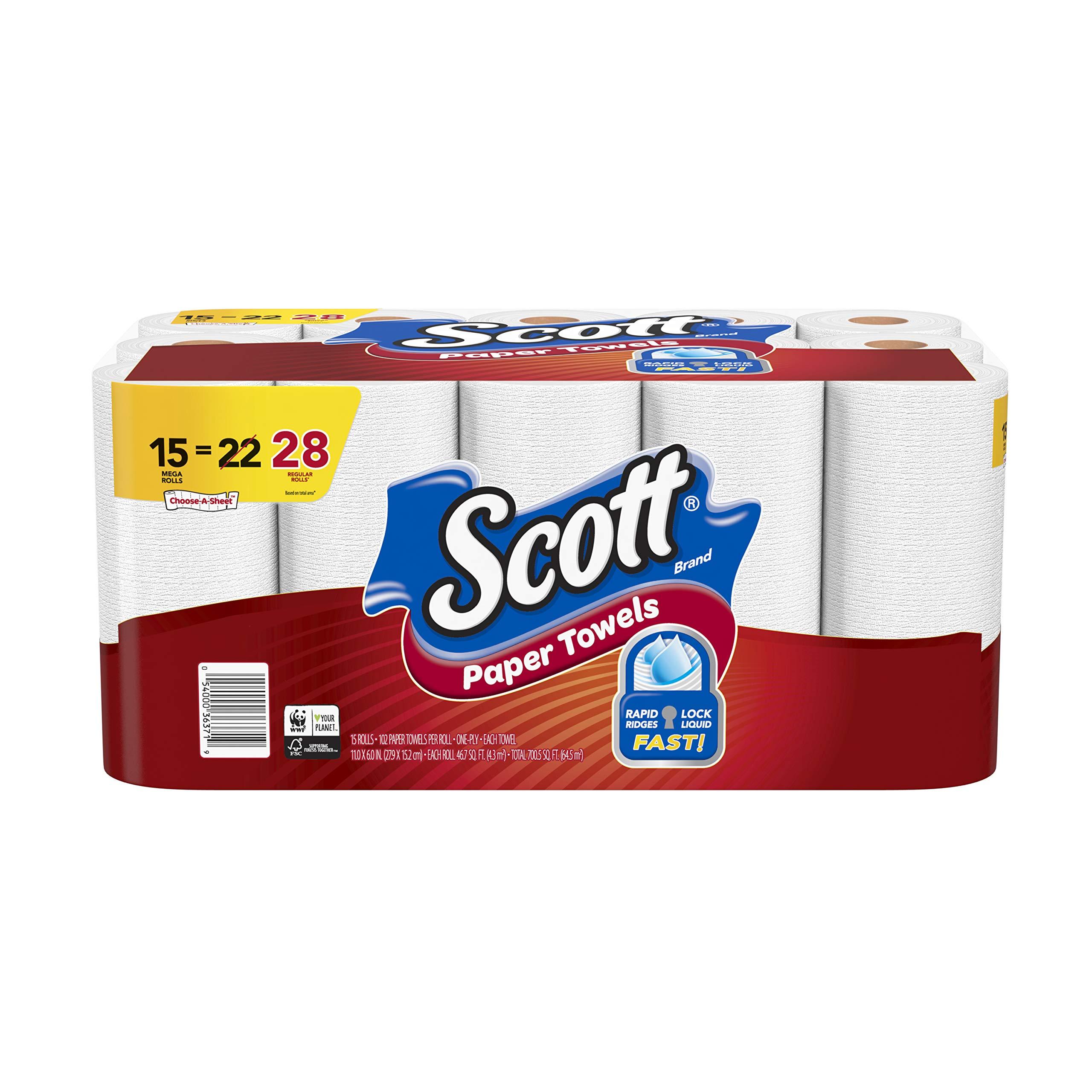 Scott Paper Towels Choose-A-Sheet, White, 15 Mega Rolls (2 Pack) by Scott Towel