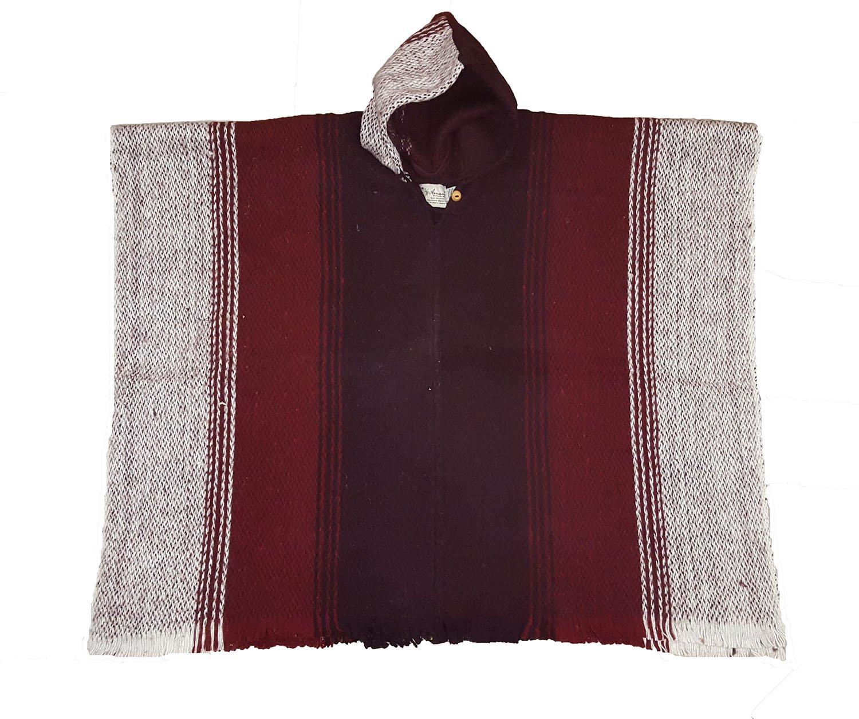 América del Sur 100% hecha a mano de lana Poncho Burdeos Rayas